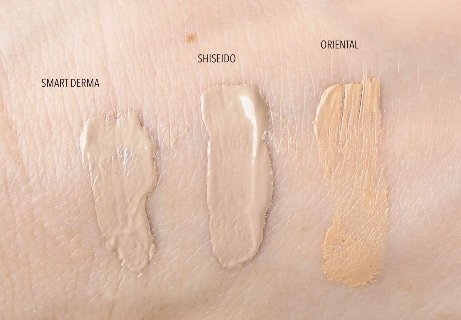 Swatch Skin79 The Oriental Gold, Skin79 Smart Derma, Shiseido hydrating BB