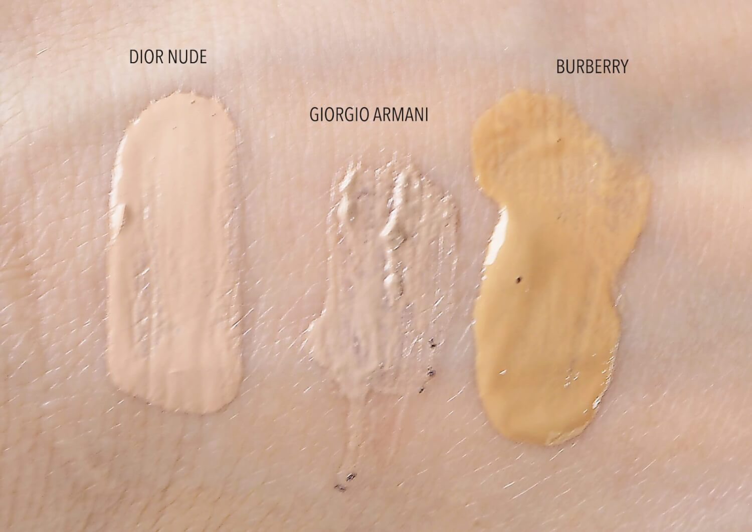 SWATCHE: Dior Nude BB, Armani BB, Burberry BB