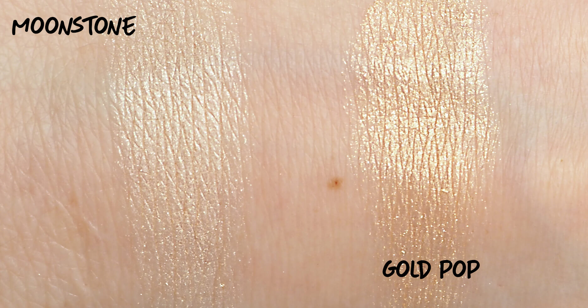 BECCA Moonstone i Gold Pop Swatche