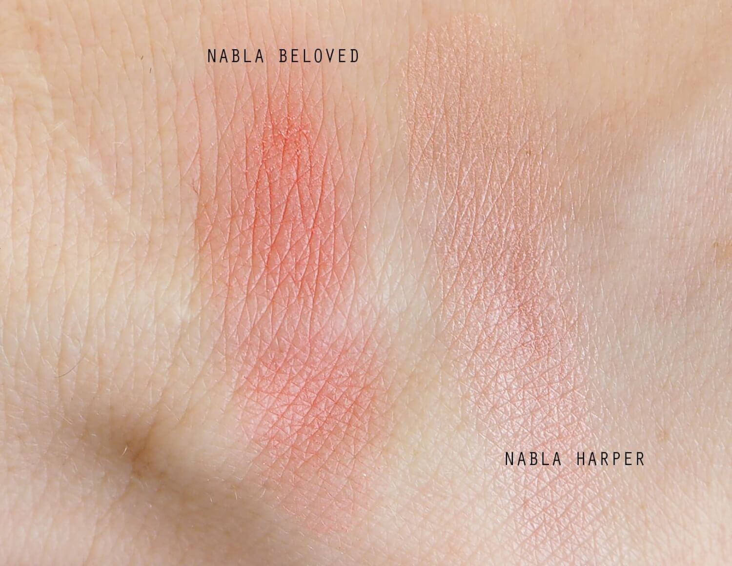 swatches NABLA COSMETICS BLOSSOM BLUSHES
