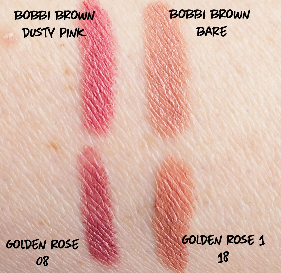 Porówanie GOLDEN ROSE MATTE LIPSTICK CRAYON do Bobbi Brown ART STICK
