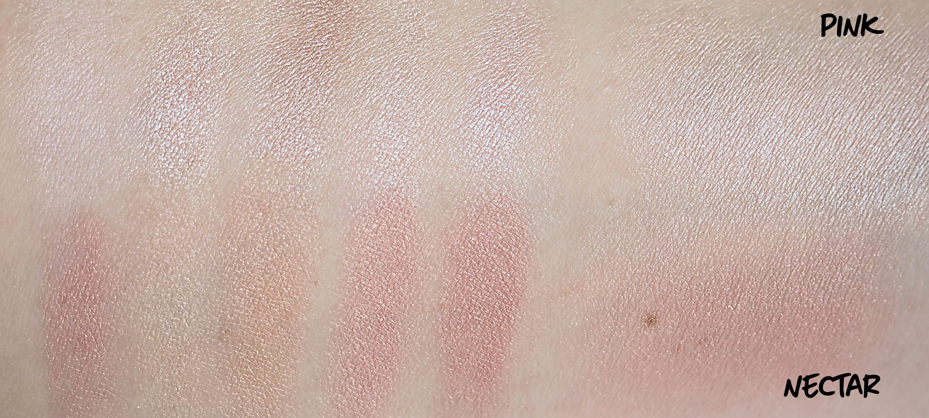NECTAR i PINK SHIMMER BRICK swatches