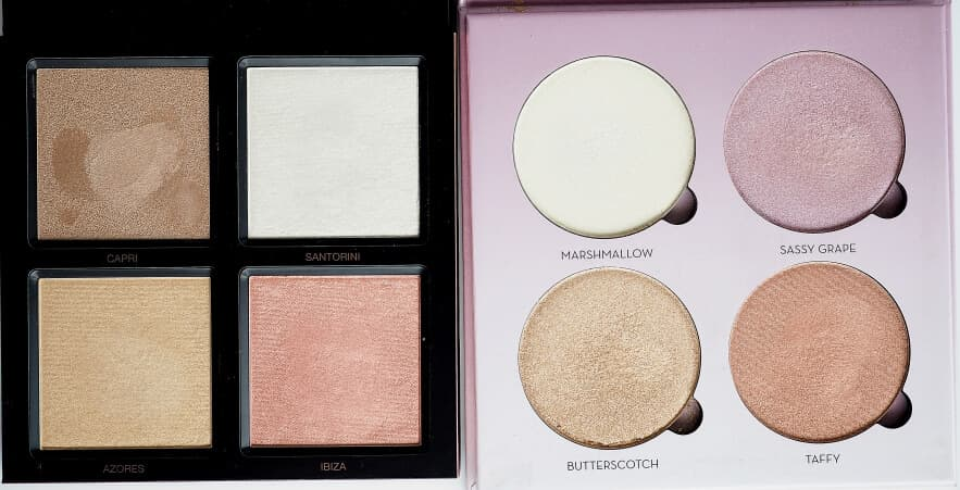 Porównanie HUDA BEAUTY 3D HIGHLIGHTER do ABH SWEETS KIT